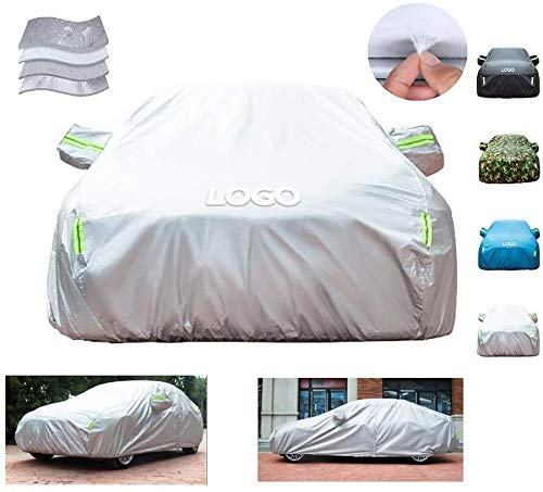 RUN White Car Cover, Polyester-Taft-4-Layer-Composite-Material, Allwetterschutz (Größe: M 1er)