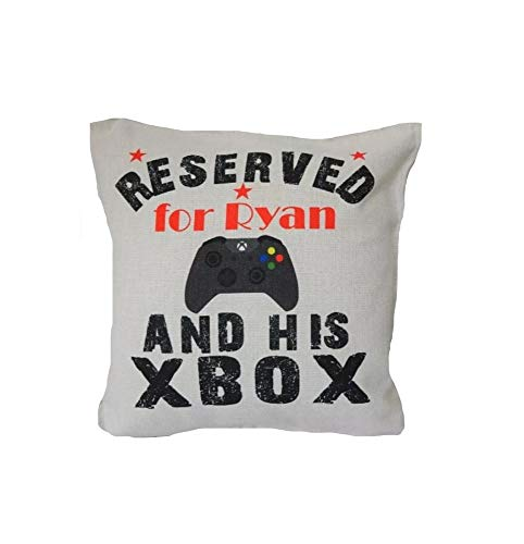 Yohoba Personalised Cushion. Boys Reserved For Xbox/Xbox One Bedroom/Son/Dad/Brother Cotton Linen Home Decorative Throw Pillowcases Covers Sofa Couch Square 18' X 18'
