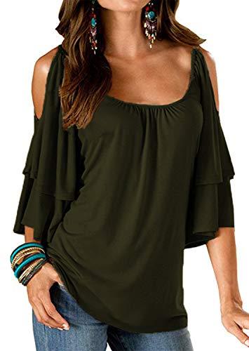 Merryfun Women's Summer Cold Shoulder Ruffle Sleeve Loose Stretch Tops Tunic Blouse Shirt Army Green, M