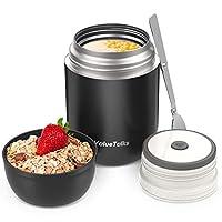 valuetalks thermos per alimentari 450ml,vuoto isolato acciaio inossidabile thermos acciaio con un cucchiaio pieghevole (nero)