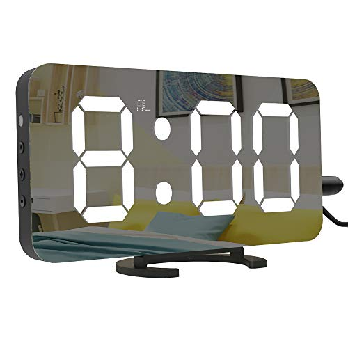 """LightBiz Large Display Alarm Clock, Digital Clock Large 6.5"""" Easy-Read LED Display, Diming Mode, Easy Snooze Function, Mirror Surface, Dual USB Charger Ports"""