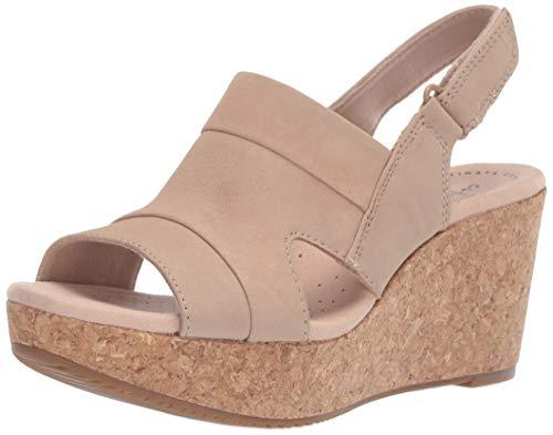 Clarks womens Annadel Ivory Wedge Sandal, Sand Nubuck, 9.5 US