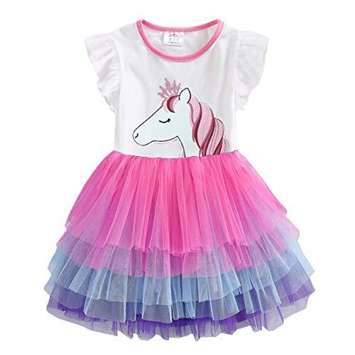 VIKITA Mädchen Kleider Sommerkleid Blume Baumwolle Lässige Kinderkleidung Gr.92-128 Sh4590 5T