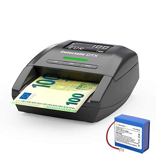Detectalia D7X - Rilevatore di banconote false EUR, GBP, CHF, PLN e SEK con 7 controlli di contraffazione e affidabilità al 100% e batteria - 14 x 12 x 6 cm