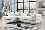Iconic Home Da Vinci Left Hand Facing Sectional Sofa L Shape Chaise PU Leather Button Tufted with Silver Nailhead Trim Silvertone Metal Leg with 3 Accent Pillows, Modern Contemporary, Cream (FSA2902-AN)