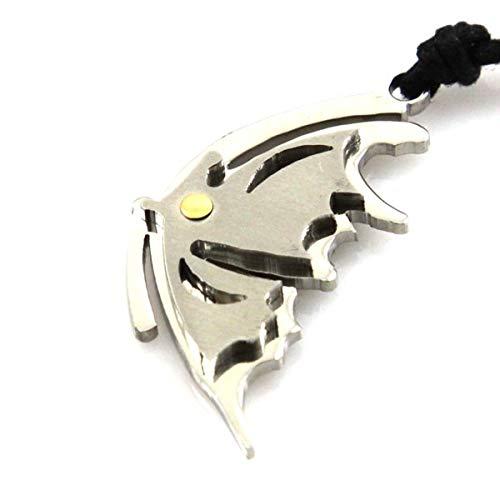 Collar de Mariposa en Acero y en el Punto 18 k de Oro Correa de Negro H38 L21 - cll0610