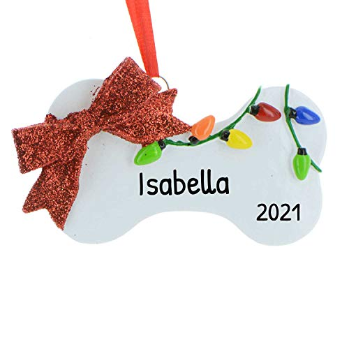 Personalized Festive Dog Bone Christmas Tree Ornament 2020 - Decorated Lights Glitter Red Ribbon Fluffy Love Furever Neutral Game Family R.I.P. Gift Treat Love Generic Memorial - Free Customization