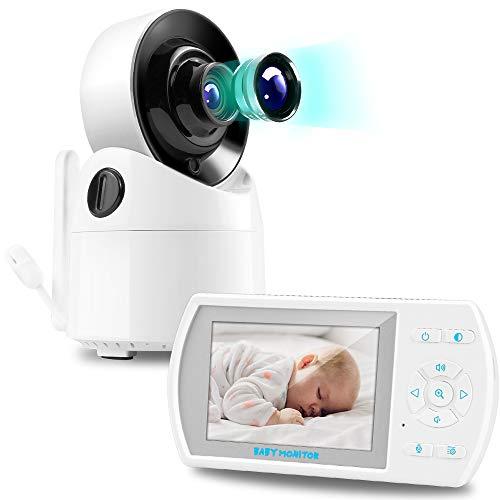 Babyphone mit Kamera,Video Baby Monitor,Baby Überwachung,3.5 Zoll Dual Audio Digital LCD Bildschirm,VOX,Gegensprechfunktion,Schlaflieder,Temperatursensor,Nachtsicht und Unterstützung 4 Kameras