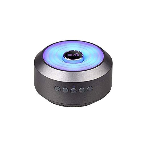 QIXIAOCYB Bluetooth- Lautsprecher im Freien bunten Lichtern drahtlosen Bluetooth Lautsprecher-Handy- Subwoofer tragbaren Karte Klein Stahl Gun Sound(Farbe: Schwarz) (Color : Black)