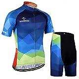 X-Labor - Maglia da ciclismo da uomo, taglia grande, maglia a maniche corte + pantaloncini con imbottitura 3D, abbigliamento da ciclismo blu sfumato 4XL