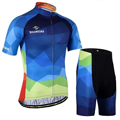 X-Labor Herren Radtrikot Set Große Größe Trikot Kurzarm + Radhose mit 3D Sitzpolster Fahrradbekleidung Blau Farbverlauf XL