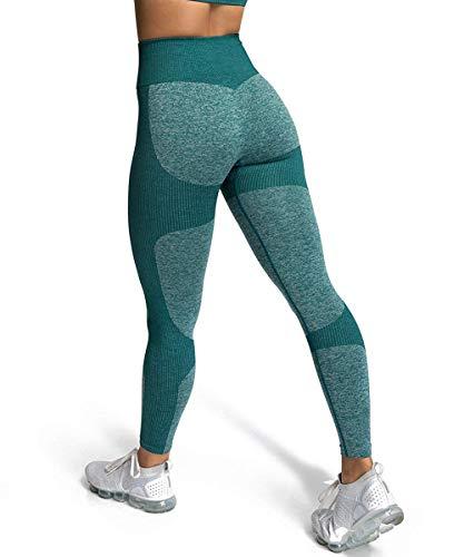 ShinyStar Damen Sport Leggings Lange Blickdicht Yoga Leggings Kompressions Figurformende Sporthose Fitnesshose mit Hohe Taille Grün L