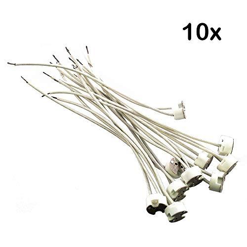 10x Offgridtec® G4 Lampenfassung Fassung Sockel - Mit isol. Kabelzuleitung - Lampensockel