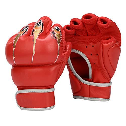 Boxhandschuhe Half-Finger Boxhandschuhe Erwachsener Sanda Kampfsport Kampf Taekwondo Sandsack-Handschuhe Fingerlose Handschuhe (ein Paar) Boxhandschuhe Trainingshandschuhe ( Color : Red , Size : 7oz )