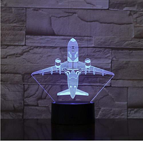Djkaa vliegtuig vliegtuig met touch/afstandsbediening nachtlampje LED paneel acryl stereo decoratie tafel 7 kleuren wisselende slaaplamp