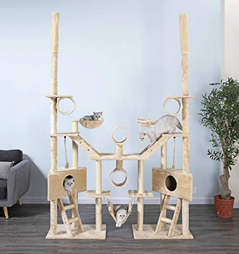 Go Pet Club Cat Tree Condo Furniture, 106-Inch, Beige