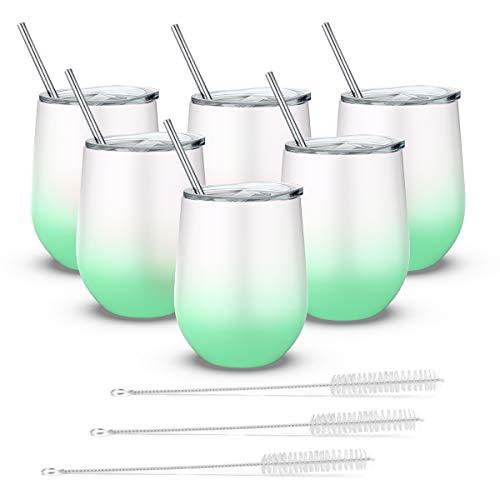 Fungun Weinglas ohne Stiel, Edelstahl, doppelwandig, vakuumisoliert, mit Deckel, für Kaffee, Wein, Cocktails 6 pcs weiß/grün