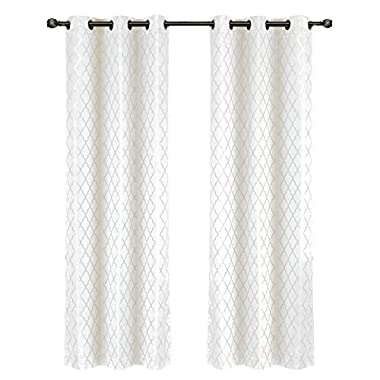 Willow Jacquard White Grommet Blackout Window Curtain Panels, Pair / Set of 2 Panels, 42x120 inches Each, by Royal Hotel