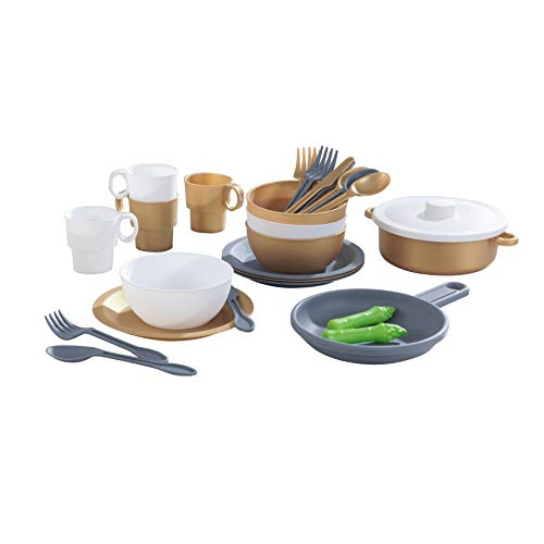 KidKraft 63532 27-Piece Cookware Play Kitchen Set in Modern Metallic Colours, Complete Dish and Utensil Set