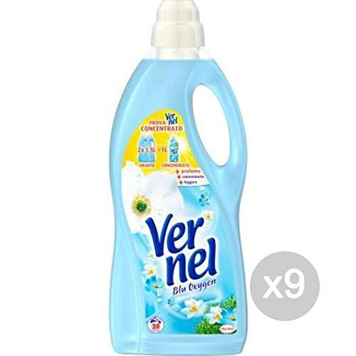 Vernel Set 9 Weichspüler Lt 1,5 blau klassisch Waschmittel und gewölbt, Mehrfarbig
