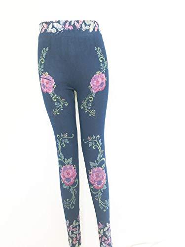 Tamaño de la moda delgada de las mujeres polainas Plus Faux Denim Jeans Leggings impresión bolsillo largo de las polainas de Verano Pantalones Lápiz Casual ( Color : Vine flower , Talla : M )