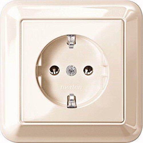 Merten MEG2401-1244 SCHUKO-stopcontact met volledige afdekplaat, SK, wit glanzend, ATELIER-M