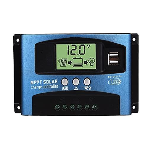 Controlador de carga solar 100A, Controlador de carga solar USB dual 12V / 24V, Regulador solar con pantalla LCD
