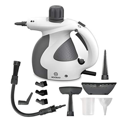Limpiador a vapor Moosoo, limpiador a vapor multiusos para uso doméstico, vaporizador de mano de alta presión con 9 piezas de accesorios, ideal para tapicería, alfombras, inodoro, baño, auto SC1000