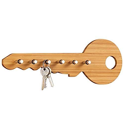 Zeller 13590 tringle pour clés en bambou/inox, 35 x 4 x 12,5 cm
