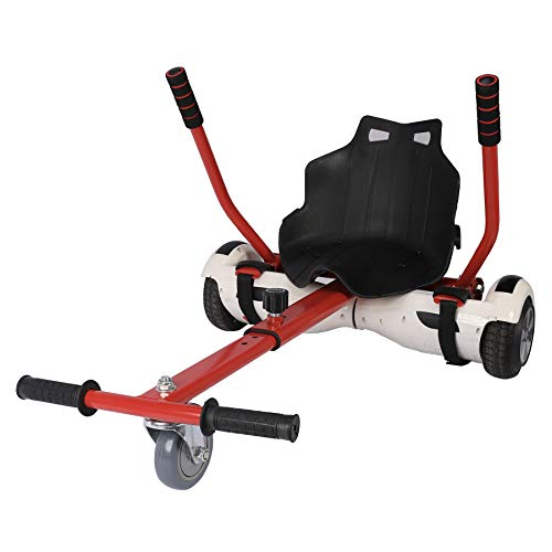 Sfeomi Hoverkart Silla para Hoverboard Electrico Hover Kart Ajustable para Patinete Eléctrico Asiento Kart Adaptarse a 6.5 8 10 Pulgadas Hoverboard Go Kart con Asiento para Niños y Adulto (Rojo)