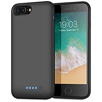 Battery Case for iPhone 8plus/7plus/6 Plus/6s Plus Upgraded [8500mAh] Protective Portable Charging Case Rechargeable Extended Battery Pack for Apple iPhone 8plus/7plus/6 Plus/6s Plus 5.5   - Black