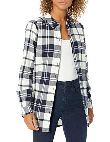 Goodthreads Brushed Flannel Boyfriend Tunic button-down-shirts, Navy Oversize Check, US M (EU M - L)