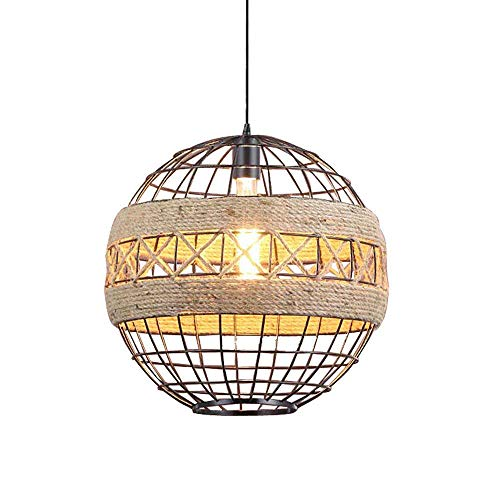 GYC Lámpara de araña de Hierro Industrial Retro Luces de Cuerda de cáñamo 100cm Lámpara de araña rústica Ajustable Colgante Suspensión de Techo Tejida a Mano Iluminación de l