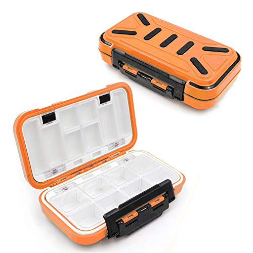 YUKI Fishing Lure Boxes, Bait Storage Case Fishing Tackle Storage Trays Accessory Boxes Thicker Plastic Hooks Organizer Containers for Vest Casting Fly Fishing - Waterproof Seal (Orange, Medium)