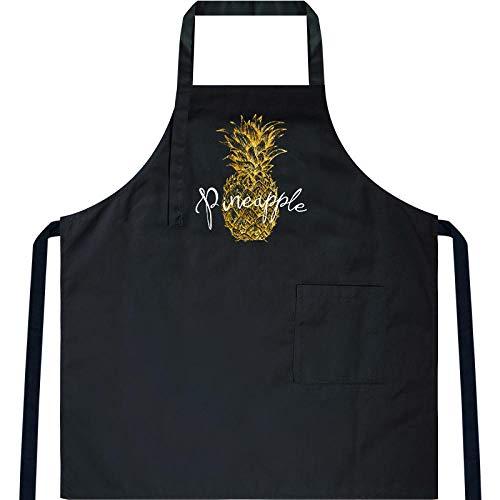 JJFU Koken Schort Thuis Keuken Koken Schort Hot Blouse Nieuwe Waterdichte Chef Werk Mannen En Vrouwen-Zwart (Cotton-Polyester Blend)-Groot