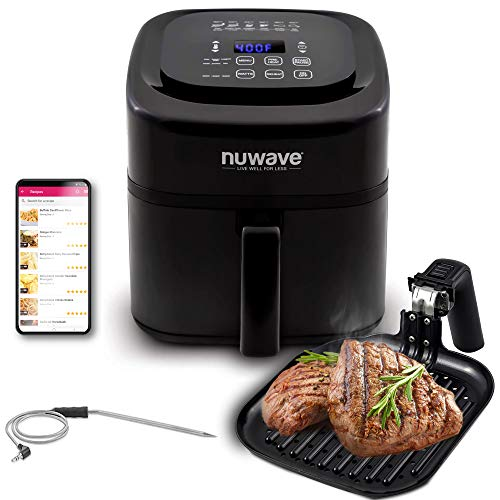 NuWave Brio 6-Quart Air Fryer with App Recipes (Black) includes basket divider, one-touch digital controls, 6 easy presets, wattage control, and advanced functions like SEAR, PREHEAT, DELAY, WARM and more