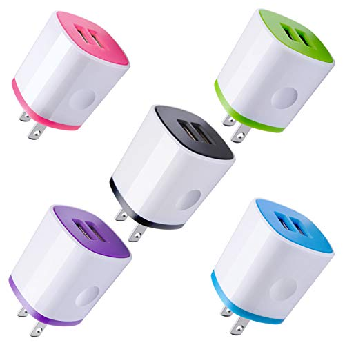 USB Charger Wall Plug, Phone Charger Box, AndHot 5-Pack Home Travel 2.1Amp Dual Port USB Wall Charger Quick Charging Block Cube Brick Compatible with iPhone 8 7 6S, iPad, Samsung, Android Phone,Kindle