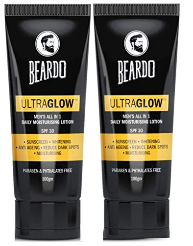 Beardo Ultraglow Face Lotion For Men, 100g (Pack of 2) | Sunscreen | Face Lotion | Moisturizer | Aftershave Lotion | SPF30 | Made in India