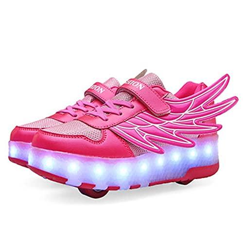 LED Zapatos luminosa con rollos para niños Luz en zapatos casuales Moda Malla transpirable Zapatillas intermitentes Ultralight Zapatos deportivos al aire libre zapatos de parpadeo zapatos de patineta