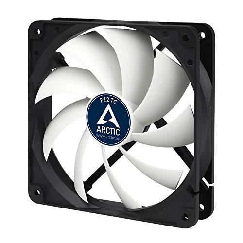 ARCTIC F12 TC - Temperaturgesteuerter 120 mm Gehäuselüfter, Standard Case Fan, Temperatursensor reguliert RPM, Push- oder Pull-Konfiguration, 300-1350 RPM
