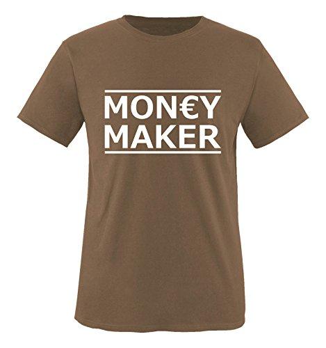 Comedy Shirts - Money Maker - Herren T-Shirt - Braun/Weiss Gr. XL
