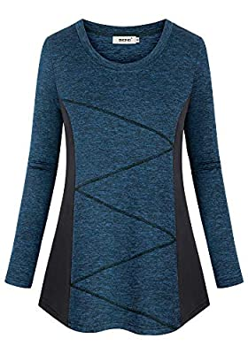 BEPEI Gym Tops for Women with Sleeves,Long Sleeved Running Hiking Yoga T Shirt Juniors Sexy Cool Breezy Athleisure Volleyball Work Out Tunic Modern Petite Scoop Neck Elastic Jersey Blouse Navy Blue M