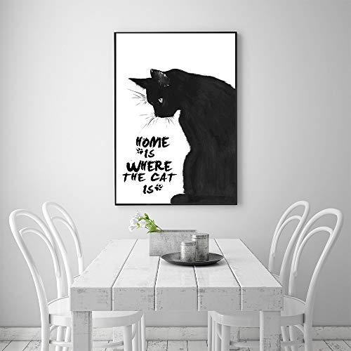 Sanzangtang Scandinavisch plakaat zwart-wit muurkunstkattenschilderij wanddecoratie schattig kattenhuis is, waar de kat frameloos is