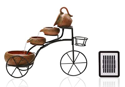 Small Solar Powered Water Feature 4 Tier Cascading Bicycle with Planter Basket PC601