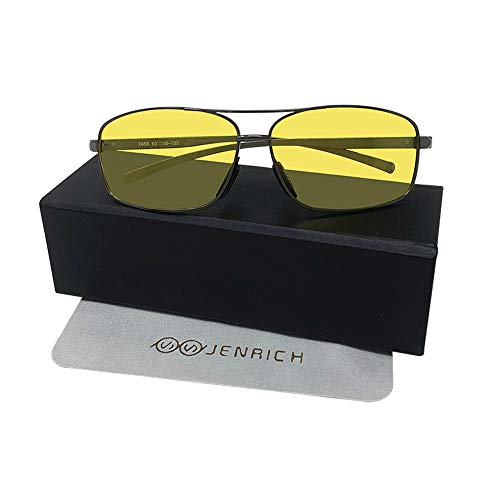 JENRICH Night Driving Glasses, HD Night Vision Safety Glasses, Vision Yellow Lens,Polarized Anti Glare Fashion Night Vision Glasses Men & Women