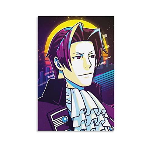 Zhuangzhou Miles Edgeworth Apollo Justice Ace Attorney Anime Poster decorativo su tela da parete per soggiorno, camera da letto, 60 x 40 cm