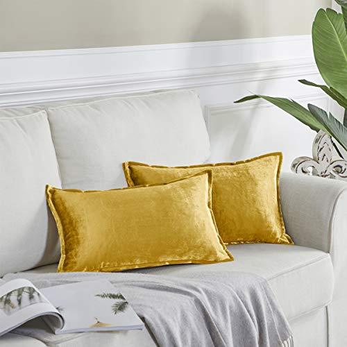 OMMATO Terciopelo Funda de Cojine 30x50 cm Gold Juego de 2 Decorativa Funda Cojin Almohada Casopara Sofá Dormitorio Sala de Estar
