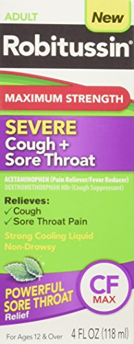 Robitussin Adult Maximum Strength Severe Cough + Sore Throat Relief Medicine, Cough Suppressant, Acetaminophen, 4 Fluid Ounce