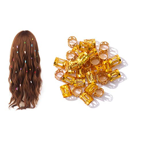 Dreadlocks de aluminio ajustable Metal Hair Cuffs Cabello trenzado perlas Filigrana pelo para el cabello Accesorios Decoraciones 100 unids oro
