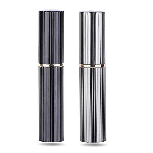 AsaNana Pulverizador de perfume rellenable, tecnología de llenado sin embudo, vaporizador vacío para viaje bolso de viaje, 5 ml (Pro-2P-Black&Gray)